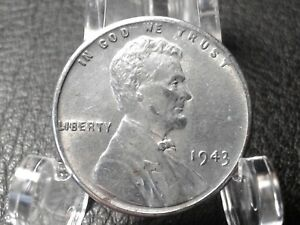 1943 LINCOLN WHEAT PENNY : ONE CENT COIN :