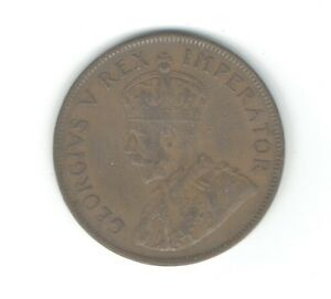 SOUTH AFRICA 1936 ONE PENNY BRONZE KM14.3 COIN