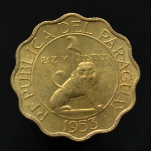 PARAGUAY 50 CNTIMOS 1953.  KM28. NORTH AMERICAN COIN. UNC