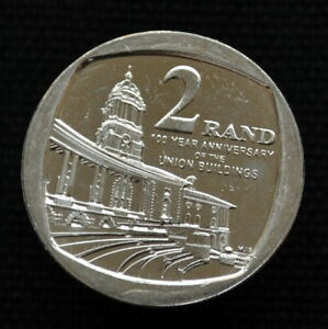 SOUTH AFRICA 2 RAND 2013 100TH ANNIVERSARY OF THE UNION BUILDING UNC COIN