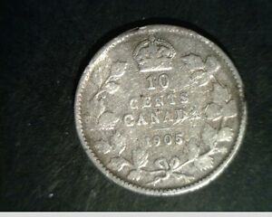 1905 CANADA TEN CENTS MEDIUM GRADE CIRCULATED .0691 OZ SLV  CAN 641