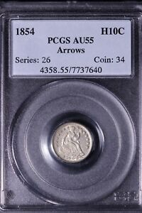 1854 SEATED LIBERTY HALF DIME PCGS AU55              LOT RUCEX