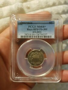 Click now to see the BUY IT NOW Price! 1866/66 NICKEL REPUNCHED DATE   FS 001/RPD FS 301  SUPER  MS64  PCGS 5C