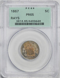 Click now to see the BUY IT NOW Price! 1867 SHIELD 5C PCGS PR 65