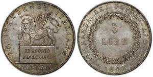 Click now to see the BUY IT NOW Price! ITALIAN STATES VENICE 1848 AR 5 LIRE PCGS MS65 KM 803.