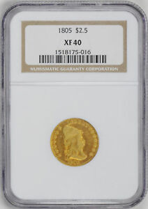 Click now to see the BUY IT NOW Price! 1805 DRAPED BUST $2.5 NGC XF 40