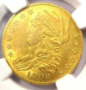 1808 CAPPED BUST GOLD HALF EAGLE $5 COIN   NGC UNCIRCULATED DETAILS  UNC MS