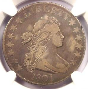 1801 DRAPED BUST HALF DOLLAR 50C COIN   CERTIFIED NGC VF20   $3 500 VALUE