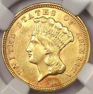 1856 THREE DOLLAR INDIAN GOLD PIECE $3   NGC UNCIRCULATED DETS    BU MS COIN