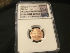 2017 S ENHANCED LINCOLN CENT NGC SP69RD 1ST DAY ISSUE.