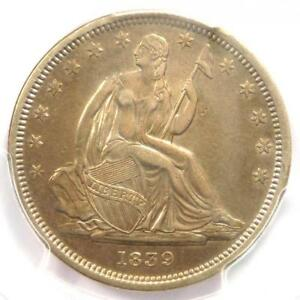 1839 NO DRAPERY SEATED LIBERTY HALF DOLLAR 50C COIN   CERTIFIED PCGS AU DETAILS