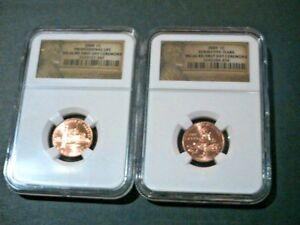2  2009 NGC MS66 RD LINCOLN CENTS    FIRST DAY CEREMONY LABELS