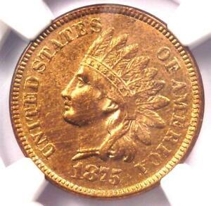 1875 INDIAN CENT 1C   NGC UNCIRCULATED DETAIL    EARLY UNC MS BU PENNY