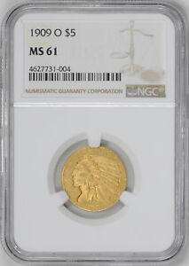 Click now to see the BUY IT NOW Price! 1909 O INDIAN HEAD $5 NGC MS 61