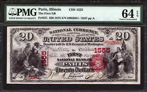 Click now to see the BUY IT NOW Price! $20 1875 FIRST NATIONAL BANK OF PARIS ILLINOIS CH 1555 PCGS 64 PPQ FINEST KNOWN