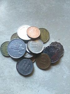 MIXED LOT WORLD COINS FOREIGN UK ITALY FRENCH POLYNESIA COOK ISLANDS MORE