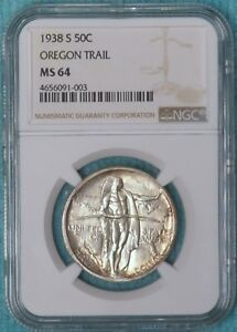 1938 S MS 64 OREGON TRAIL EARLY COMEMEMORATIVE HALF UNCIRCULATED UNC