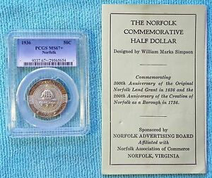 1936 MS 67  NORFOLK VIRGINIA WITH ORIGINAL COIN TAB HOLDER COMMEMORATIVE SILVER