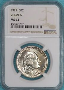 1927 MS 63 VERMONT UNCIRCULATED UNC EARLY COMMEMORATIVE SILVER HALF
