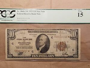 Click now to see the BUY IT NOW Price! 1929 $10 FEDERAL RESERVE BANK STAR NOTE PHILADELPHIA FR. 1860 B  PCGS FINE 15