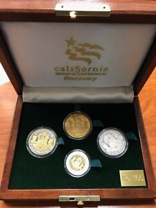 CALIFORNIA GOLD DISCOVERY SESQUICENTENNIAL 4 COIN GOLD AND SILVER SET