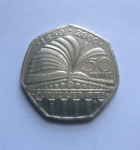 PUBLIC LIBRARIES 50P FIFTY PENCE COIN. . FREE P&P
