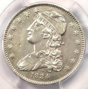 1834 CAPPED BUST QUARTER 25C   PCGS AU DETAILS    EARLY DATE COIN IN AU