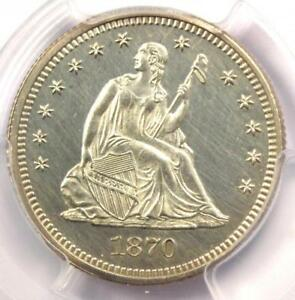 1870 PROOF SEATED LIBERTY QUARTER 25C COIN   PCGS PROOF UNC DETAILS  PF/PR