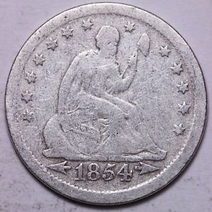 1854 SEATED LIBERTY QUARTER           K9GTP