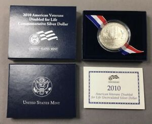 2010 W DISABLED VETERANS FOR LIFE UNCIRCULATED SILVER DOLLAR W/ BOX & COA   UNC