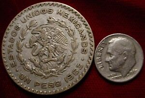 LARGE SILVER 1963 PESO MEXICO LAST TYPE SILVER PESOS MINTED FOR CIRCULATION