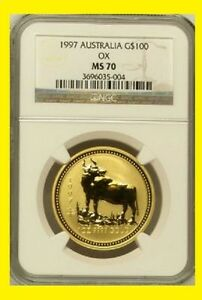 Click now to see the BUY IT NOW Price! 1997 CHINESE LUNAR YEAR OF THE OX NGC MS 70 AUSTRALIA 1 OZ 9999 GOLD