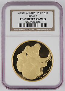 Click now to see the BUY IT NOW Price! AUSTRALIA 2008 P $200 KOALA 2 OZ GOLD PROOF COIN NGC PF69 ULTRA CAMEO MINTAGE:20