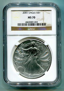 Click now to see the BUY IT NOW Price! 2001 AMERICAN SILVER EAGLE NGC MS70 BROWN MS 70 NICE COIN AND SLAB BOBS COINS