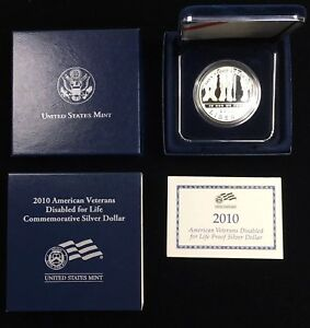 2010 W DISABLED VETERANS FOR LIFE PROOF SILVER DOLLAR W/ BOX & COA