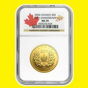 Click now to see the BUY IT NOW Price! 2004 1 OZ 9999 GOLD CANADIAN MAPLE LEAF 25TH ANNIVERSARY NGC MS70