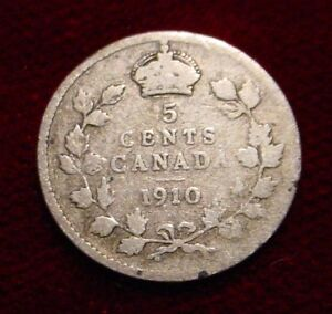 1910 STERLING .925 SILVER 10 CENTS CANADA