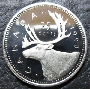 1990 25 CENT CANADA PROOF   HEAVY CAMEO   FROM MINT SET
