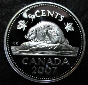 2007 5 CENT CANADA SILVER PROOF   HEAVY CAMEO   FROM MINT SET