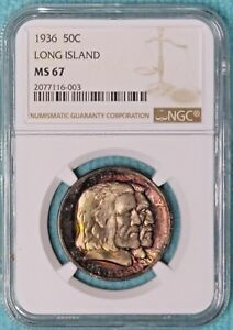 Click now to see the BUY IT NOW Price! 1936 MS 67  LONG ISLAND ONLY 81 826 MINTED CLASSIC COMMEMORATIVE SILVER HALF 2