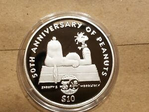 Click now to see the BUY IT NOW Price! 2000 NIUE $10 SILVER PROOF COIN 50TH ANNIVERSARY OF PEANUTS SNOOPY AND WOODSTOCK