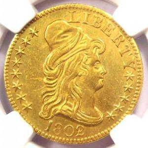 1802/1 CAPPED BUST GOLD HALF EAGLE $5   NGC AU DETAILS    GOLD COIN