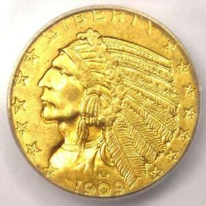 1909 INDIAN GOLD HALF EAGLE $5 COIN   ICG MS64    IN MS64   $2 690 VALUE