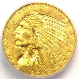1908 INDIAN GOLD HALF EAGLE $5 COIN   ICG MS64    IN MS64   $2 340 VALUE