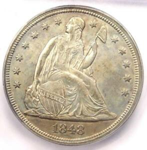 1848 SEATED LIBERTY SILVER DOLLAR $1   CERTIFIED ICG MS60  UNC    $7 500 VALUE