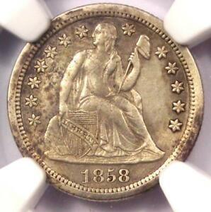 1858 S SEATED LIBERTY DIME 10C   CERTIFIED NGC AU DETAILS    DATE IN AU