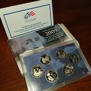 2009 DISTRICT OF COLUMBIA & US TERRITORIES US PROOF MINT SET QUARTERS