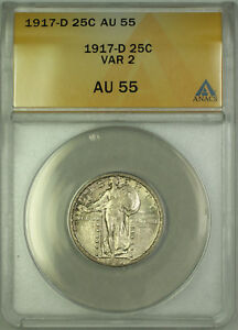 Click now to see the BUY IT NOW Price! 1917 D SILVER STANDING LIBERTY QUARTER 25C COIN ANACS AU 55 VARIETY 2