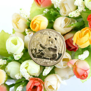 1PC GOLD PLATED BIG PANDA BABY COMMEMORATIVE COINS COLLECTION ART GIFT 2018BLUS