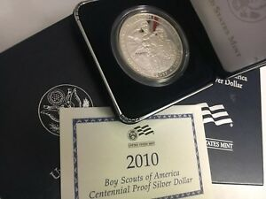 2010 P $1 BOY SCOUTS OF AMERICA CENTENNIAL SILVER COMMEMORATIVE PROOF DOLLAR